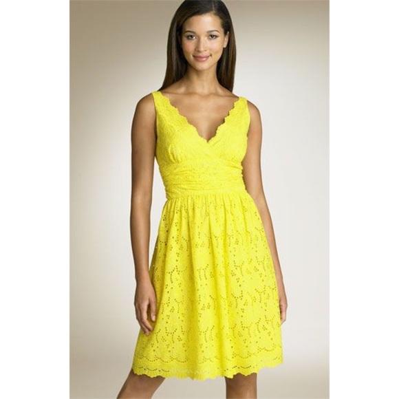 Lace V-Neck Eyelet Dress Yellow